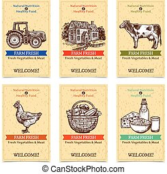 Farm Tags Banners - Six vertical farm tags welcome banners...