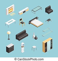 Home Interior Objects Isometric Icons Set - Home interior...