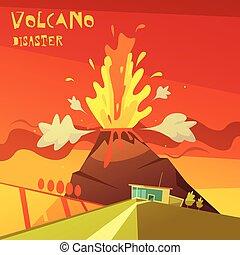 Volcano Disaster Illustration - Color cartoon illustration...