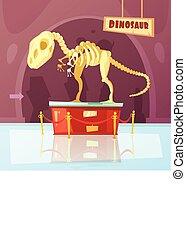 Museum Dinosaur Illustration - Color cartoon illustration of...