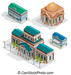 Bank And Museum Buildings Isometric Icons - Bank and museum...