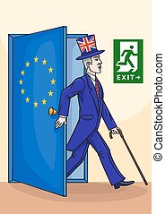 The Englishman leaves the European Union - The cartoon shows...