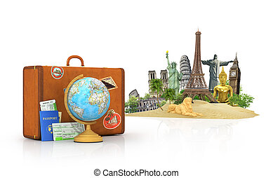 Travel concept. Attractions of the world. Suitcase for...