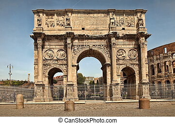 Arco de Constantino (Arch of Constantine) and Colosseum. The...