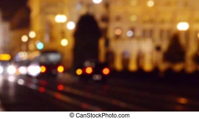 Abstract city background - Pedestrians walking in the center...