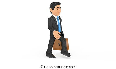 3D Animation footage businessman walking with a briefcase...