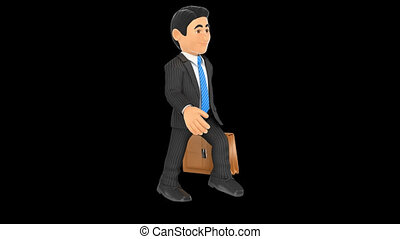 3D Animation footage businessman walking with a briefcase with alpha channel