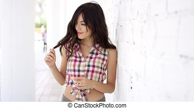 Beautiful woman wearing shirt tied at bottom - Beautiful...