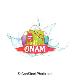 Sale Onam banner with packet and ribbon Vector illustration...