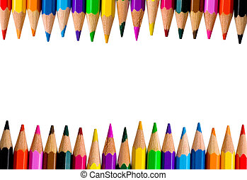 Rows of bright color pencils isolated on white (with empty...