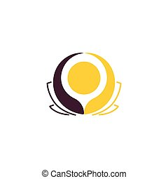 Isolated abstract round shape flower vector logo. Unusual yellow water lily logotype. Floral icon. Lotus illustration.