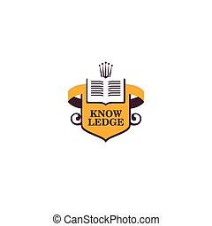 Isolated abstract book vector logo. School and university...