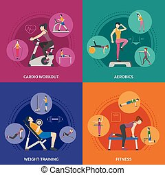 Fitness Gym Training 2x2 Icons Set - Different kinds of gym...