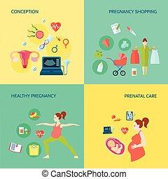 Pregnancy Concept Icons Set