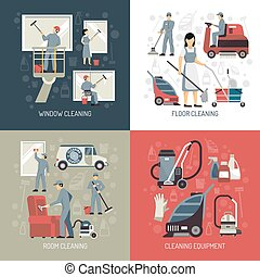 Industrial Cleaning 4 Flat Icons Square