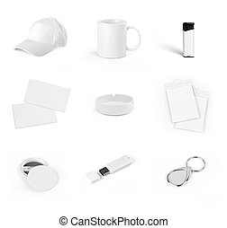 Set of white elements for corporate identity design on a...