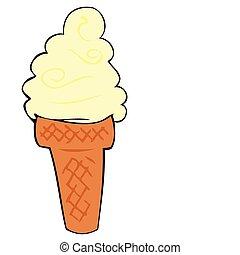 Cream ice cream cone.