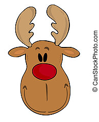 Funny reindeer face - Illustration of a funny reindeer face...