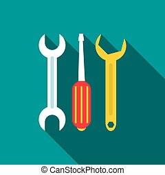 Wrench, screwdriver, spanner tools icon