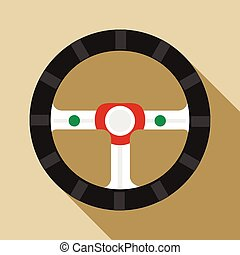 Steering wheel icon in flat style on a beige background