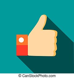 Thumb up gesture icon in flat style on a turquoise...