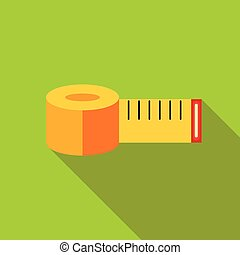 Yellow measuring tape icon, flat style
