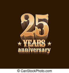 25 years anniversary vector logo. 25th birthday design, sign...