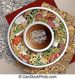caffè, Tazza, cibo, illustrazione,  doodles, italiano