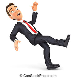 3d businessman slipping and falling, illustration with...