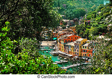 View from above on the bay Portofino