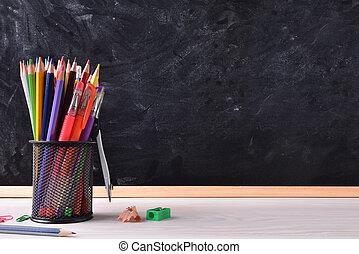 學校, 權利, 標題, 黑板, 地方, 書桌, 工具