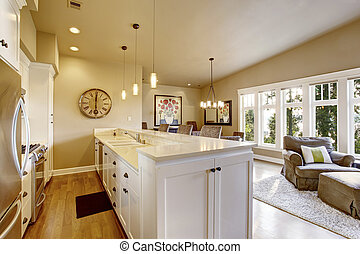 Small narrow kitchen area with white cabinets and pendant lights.