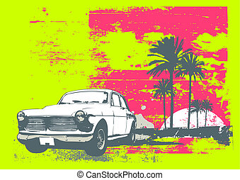 vintage car - Vector illustration of vintage car on the...