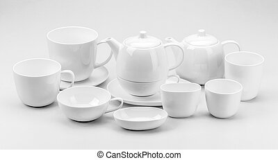 Teacup and teapot - Large group of white teacup and teapot...