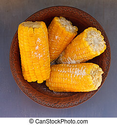 Corn on the cob in a bowl ready to be served