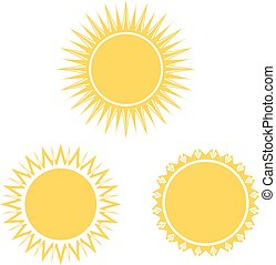yellow sun symbol set, sign, icon