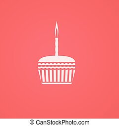 birthday cake symbol flat icon illlustration smooth gradient...