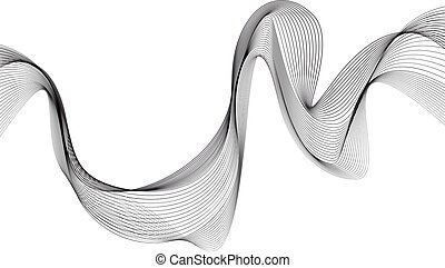 Abstract grey wave isolated on white background