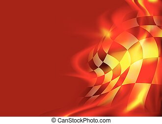 checkered flag background and red flames