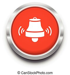 red ringing bell vector icon illustration symbol sign
