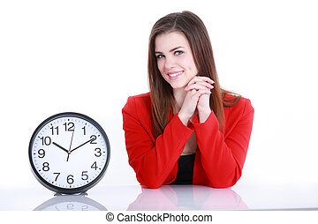 Woman with a clock against white background