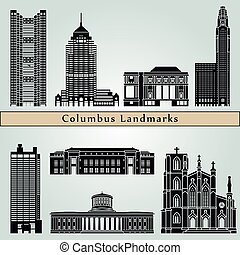 Columbus landmarks and monuments isolated on blue background...
