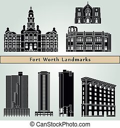 Fort Worth landmarks and monuments isolated on blue...