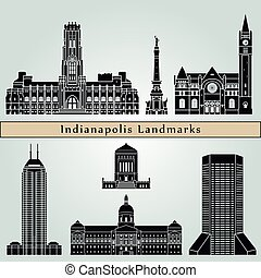 Indianapolis landmarks and monuments isolated on blue...