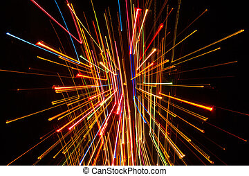 Bright Glowing Lines on Dark Background - Abstract bright...