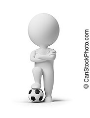 3d small people - soccer player with a ball 3d image...