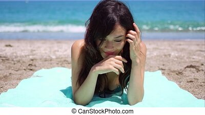 Blissful woman enjoying the summer sun - Blissful attractive...