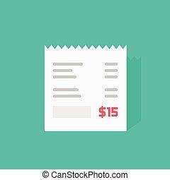 Receipt vector icon, invoice flat illustration, cheque bill...