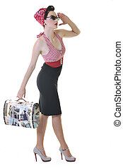 isolated woman with travel bag - pretty young happy woman...