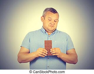 gorda, homem, refuses, Para, chocolate